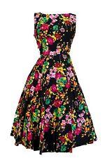 Cuori e Rose Nero Vivid Floreale Jive/Vestitino Stile Anni '50