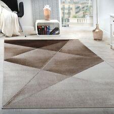 Tapis Design Moderne Motifs Géométriques Poils Ras Brun Beige Blanc Chiné