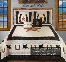Western Star Horse shoe Cowboy Boot Quilt Bedspread Comforter 5 Pcs Oversize Set