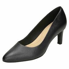 Clarks Calla Rose Ladies Black Leather Court Shoes E-Fit (R2B)(Jen)