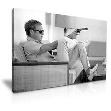 Steve McQueen Gun Icon Black and White Modern Canvas Wall Art Print ~ 9 Sizes