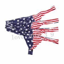 4 lot Men's Cotton USA Flag Underpants Striped Thong T-Back Briefs Underwear