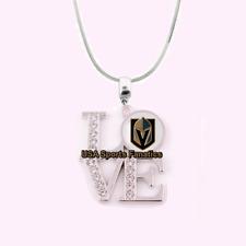 NHL - Vegas Golden Knights 925 Sterling Silver Team Love Necklace W/Rhinestones