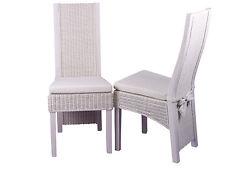 2 Rattanstühle Esszimmerstühle Rattan Stuhl Sessel Stühle Set Farbe: weiß