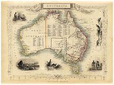 Old Vintage Australia decorative map Tallis ca. 1851