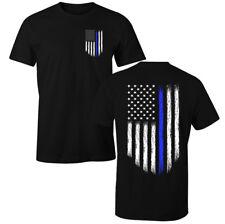 Thin Blue Line USA Flag Patriotic Police T-Shirt