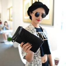 Women's Crocodile Leather Zipper Purse Wristlet Wallet Coin Phone Bag Clutch Y2