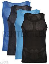 3x Hombre Malla Camiseta Cuerdas 100% Algodón Gym Muscular Top Verano a XL XXL