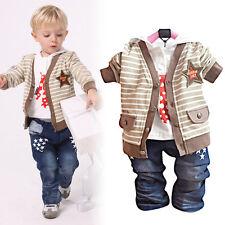 Petit enfant Garçon 3 PIÈCES Ensemble Fête Décontracté Costume Taille 1-4 Ans