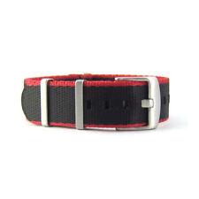 Seat Belt NATO Watch Strap | Black & Red | Premium Quality | 20mm 22mm