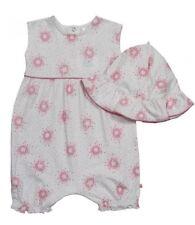 Ex BHS Baby Girls Pink IvoryTeardrop Romper & Hat Outfit Age N/B 0 3 6 9 12 Mth