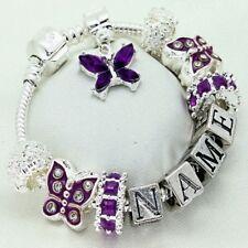 Girls Jewellery Purple Bracelet ANY NAME Personalised Birthday Gifts FREEPOST