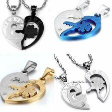 Edelstahl Verliebte Paar Ketten Halskette Heartbreaker Herz Anhänger gold silber