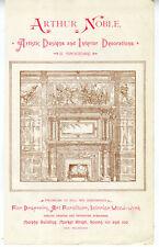 1890s Advertisement for Arthur Noble Interior Design & Woodwork San Francisco CA