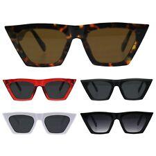 Womens Futuristic Squared Flat Top Cat Eye Goth Retro Mod Sunglasses