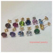 14K Solid Yellow Gold PUSH Back Stud Earrings 12 Month Birthstone Women/Children