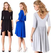 Minikleid Asymetrisch Top Kleid 3/4 Arm Gr. S M L XL XXL 3XL, 002