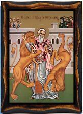 Ignatius of Antioch Saint Handmade wood icon on plaque Catholic,Orhodox Art