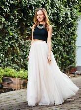 6 Schichten Lange Röcke Frauen Sommer Ballkleid Plissee Tüll Tutu Röcke 100 cm
