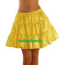Yellow Women Girl Satin Short Mini Dress Tiered Skirt Pleated Retro Ruffle