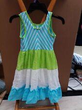 Jona Michelle Aqua/Green Chevron Colorblock Sleeveless Dress for Girls