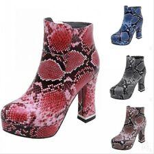 Retro Snakeskin Print Block High Heel Platform Round Toe Women Ankle Boots 34-43