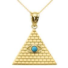 14k Yellow Gold Egyptian Pyramid with Turquoise Evil Eye Pendant
