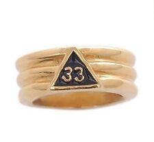 Free Mason Ring - Gold Plated 33rd Degree Freemasonry - Grooved Masonic Rings