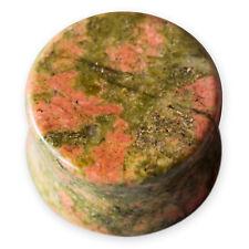 Dilatación Plug Piedra Unakita piercing jaspe marrón verde rojo 5-26 mm