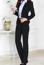 Traje conjunto de mujer negro chaqueta manga larga pantalones talla grandi 7058