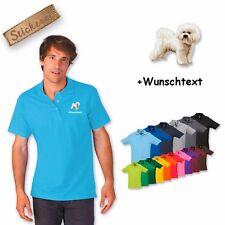 camiseta polo algodón bordado Bishon Frise + Texto deseado