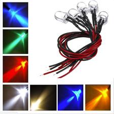 2 LED CABLATI 10mm LUCE BIANCA BLU ROSSA VERDE  ultraluminosi  12V cavo  diodi