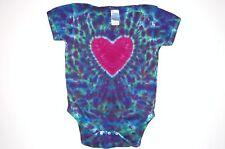 Baby Tie Dye Green Heart infant Creeper hippie Nb 6 12 18 24 month love art gift