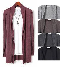 Mens V-Neck Hair Long Shaw Knit Cardigan Sweater Button Jumper Blazer W013 - S/M