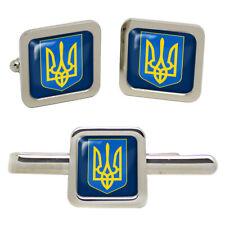 Ukraine Square Cufflinks and Tie Clip Set