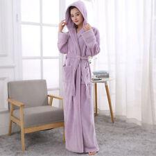 New LADIES Bath ROBE SOFT COSY LONG HOODED WINTER FLEECE sleepwear GOWN
