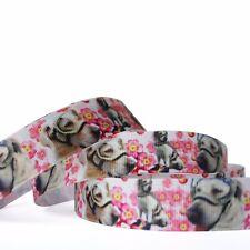 "5/10/50Y 7/8""22mm Flowers And Dog Grosgrain Cartoon Printed Pattern Ribbon Craft"