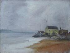 Seascape Painting Oil Canvas Illegible Signature Coastal View Vintage 00676