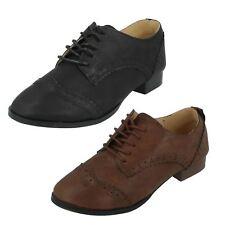 niña h2288 Brouge Piel Sintética Con Cordones Zapato En Marrón O NEGRO DE