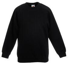 Fruit of the Loom Plain Boys Girls Kids Childs BLACK School Sweatshirt Jumper