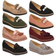 Mujer Ante look Mocasines Vintage Zapatos Plataforma Sin Cordones con flecos