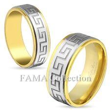 Stylish FAMA Greek Key 2tone Gold IP Stainless Steel Wedding Band Ring Size 5-13
