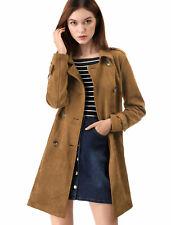 Allegra K Women Faux Suede Trench Coat Jacket with Belt