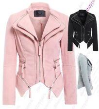 Womens Faux Suede Biker Jacket Ladies Size 8 10 12 14 Pink Black Grey