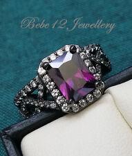 Engagement/Wedding Ring Set/Purple Stone/18KGP Black Gold//R101