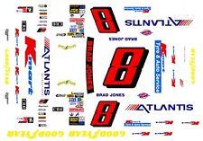 #8 Brad Jones Atlantis Chevy 1/43rd Scale Slot Car Waterslide Decals
