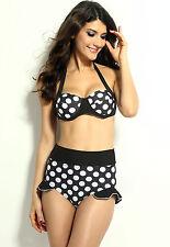 Maillot de bain retro pinup SG + culotte froufrous noir pois inspiration vintage