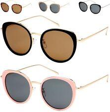 Designer Round Flat Lens Big Cat Eye Polarized Sunglasses Retro Ladies Womens