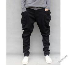 Vogue Mens Casual Harem Trousers Cargo Baggy Pants Drop Crotch black Jeans Slim