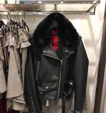 BNWT $139 ZARA Faux Leather Detachable Fur Biker Jacket Black XS S M L 3046/021